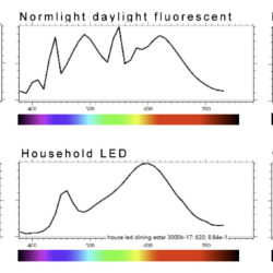 light spectrum from 6 different sources